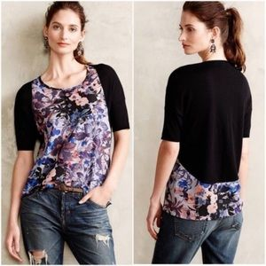 Anthropologie Yellow Bird Floral Contrast Blouse